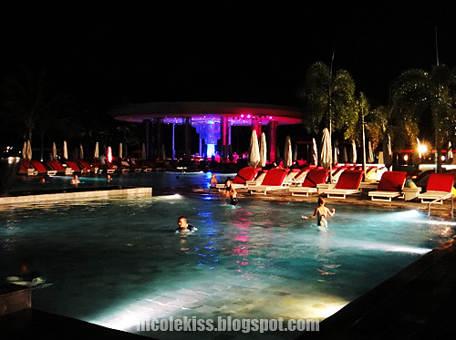 club med bali swimming pool at night