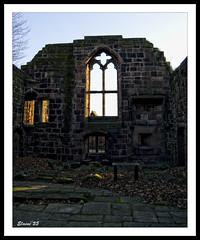 Sunshine shows softly through (Elaine 55.) Tags: sunlight window wall birkenhead priory