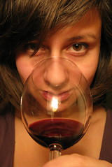 (ii) Day 84 - vino tinto (can't stop the beek) Tags: red portrait reflection eye glass self nose wine creative twinkle convex lips sparkle eyebrow 365 pause bangs browneyes graceful vino tinto brownhair