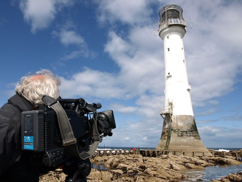 Cameraman Jim Peters filming the Bell Rock o at low tide!