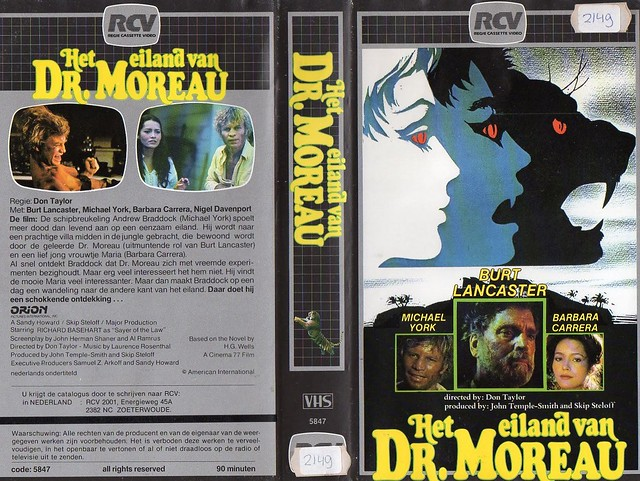 The Island of Dr. Moreau, 1977 (VHS Box Art)