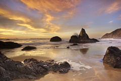 The Monolith of Grey Whale Cove #1, San Mateo County, California (PatrickSmithPhotography) Tags: ocean blue sunset red sea cloud seascape rock landscape sand pacific wave granite lowtide halfmoonbay sanmateo greywhalecove