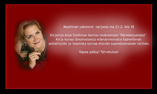 Anja Snellman Entressen kirjastossa 21.2.