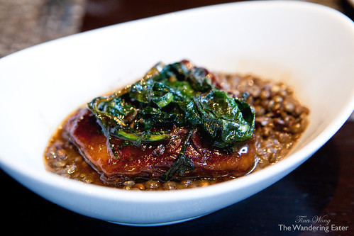 Roasted Lamb Rib with lentils and bitter greens