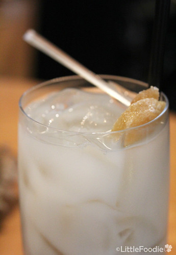 Lychee puree and soda