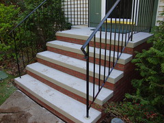5 Riser brick steps with rails