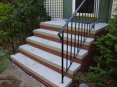 5 Riser brick steps with rails