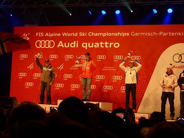 Siegerehrung Abfahrt Männer, Ski-WM 2011