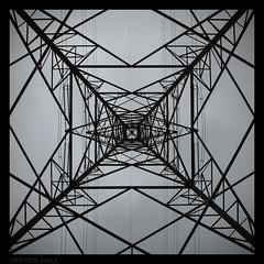 Pylon (peterphotographic) Tags: uk england blackandwhite london river square canal britain symmetry pylon electricity e17 walthamstow eastlondon riverlea riverlee nationalgrid blackwhitephotos canong12
