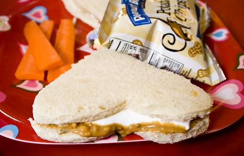 Crunchy Fluffernutter Heart Sandwich