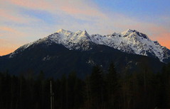 Mt. Washington in the Olympics, From Lake Cushman (dandij, 27,000+ views, Thank you for looking.) Tags: blue trees sunset red sky orange sun lake mountains reflection green water sony lakecushman olympicmountains hx1