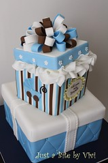 GiftBox n stroller Jen (2) (Vivi :o)) Tags: blue boy baby brown white cake by shower nc charlotte box stroller stripes tissue just gift bite quilted vivi viviane decorated fondant waxhaw