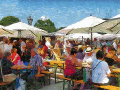 Waldviertler-markets on visit in Vienna (Vestaligo - Vacation with Internet connection) Tags: people color painting austria europe markets visit corelpainter waldviertel heldenplatz loweraustria