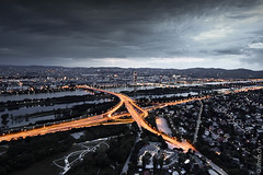 Vienna from above (MB*photo) Tags: vienna wien city light dark austria insel osterreich danube vienne autriche donau 10mm donauturm selectivecoloring wwwifmbch marcbaertsch