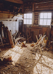 (Max Nathan) Tags: wood autumn light england brown sunlight white art film window yellow barn rural countryside afternoon shed logs axe pause dust ricoh gr1 borders piles stacks hacksaw woodshed sawdust motes shopshire
