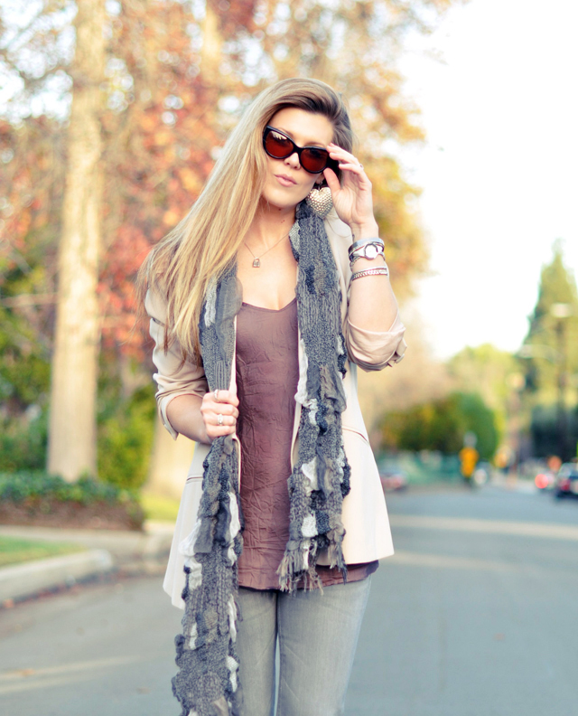 Cream Blazer & Gray Jeans