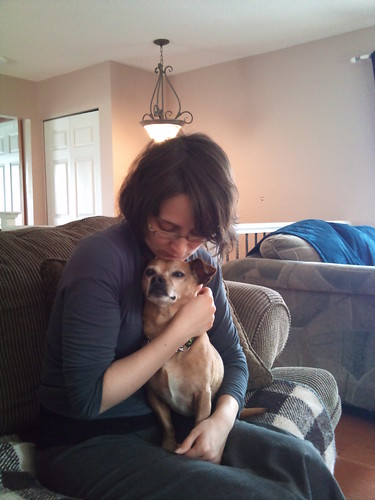 Corene and a tiny tiny dog!