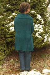 Tilted Duster Back View (jchants) Tags: green wool knitted cardigan darkteal norahgaughan slogalong tiltedduster berrocoperuvia interweaveknitsfall2007 aquamarinacolorway knitinpieces