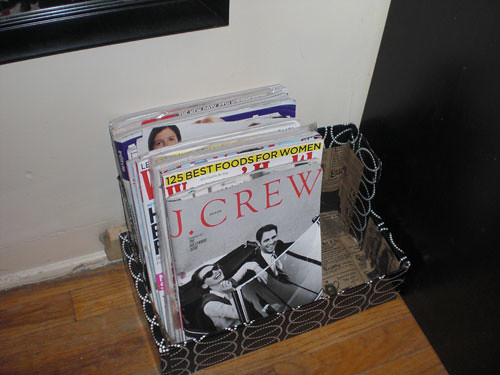 Step 7: And you're done! A regular cardboard box constructed into a magazine rack!