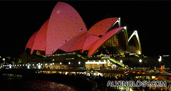 As part of the Sydney Biennale, different images were projected onto the Sydney Opera House, changing its colour