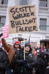 Pretty much the sentiment : Protest in Wisconsin (Paul v2.0) Tags: fab signs wisconsin scott bill democracy blog illinois workers message 26 political politics 14 union rally protest free police peaceful scene right eat capitol walker madison badgers unions taxes february teachers left speech campaign democrats firefighters republicans members protestors opinions koch confrontation legislation 2011 weasles fab14