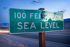 "Plankton is Amused at the ""100 Feet Below Sea Level"" Sign (pixelmama) Tags: windy duststorm lighttrail plankton deathvalleynationalpark pixelmama toyintheframethursday htitft 100feetbelowsealevel"