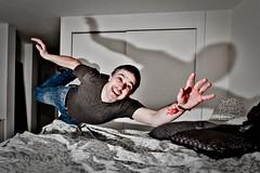 Flying Vasil (AnnaTimeSt) Tags: shadow portrait man smile flying hand flight speedlight