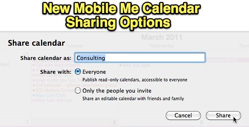 New MobileMe Calendar Sharing Options
