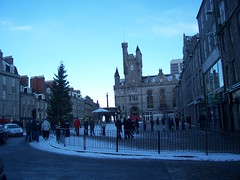 Aberdeen's Castlegate on a busy Saturday afternoon, November 2010 (allanmaciver) Tags: blue sky people snow tree cars army james citadel aberdeen salvation castlegate 1896 souttar allanmaciver