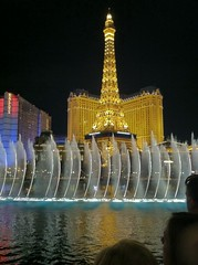 Bellagio fountain with Paris in background