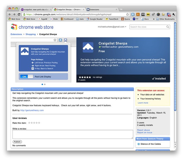 Craigslist Sherpa Chrome Extension