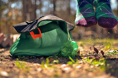 Luck of the Irish. (tyreke.white) Tags: irish green grass hat yellow socks 35mm four leaf jumping nikon bokeh clover argyle leprechaun d5000