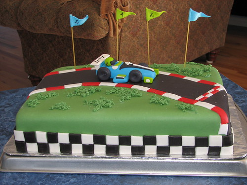 Cake fondant race car birthday