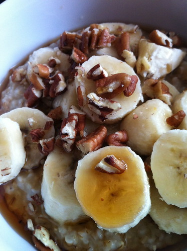 Steel-cut oats, bananas, pecans