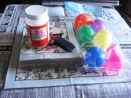 supplies for decoupage napkin eggs