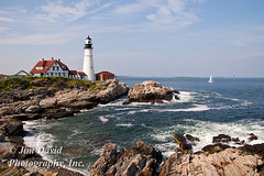 Portland Head Lighthouse in Maine (jim_david) Tags: ocean life travel light vacation lighthouse house history nature rock sailboat portland outdoors coast harbor waves cove stock maine newengland conservation peaceful historic atlantic safety shore sail environment safe guide beacon portlandhead