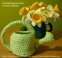 Daffodils with 2 Cans (Dolls based on K and J Dolls Patterns) Tags: flower pattern crochet daffodil amigurumi blume osterglocken hkeln hkelanleitung frhlingsfee