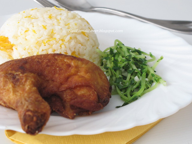 Nasi Ayam Kampung goreng (Deep fried Chicken and rice)
