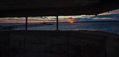 sunset at Fort Foster (jamesmerecki) Tags: sunset fortfoster sunsetting fort maine me kittery kitterypoint portsmouthharbor pier silhouette whalebacklight colors dusk sundown