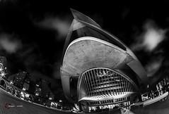 IMGP0363 ([masterleo]) Tags: vlc valencia ciutat art sciences calatrava bw bianco nero pentax fisheye 1017mm architecture travel amazing long exposure