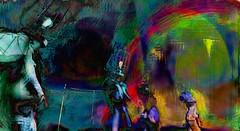 Somewhere over the rainbow (Bamboo Barnes - Artist.Com) Tags: secondlife surreal mannequin vivid green blue pink red yellow light shadow photo painting digitalart dark bamboobarnes