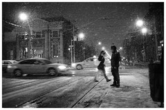 Snow Walk at Queen and Bathurst (Lick My Lens Cap) Tags: leica winter toronto ontario canada film 35mm 50mm ishootfilm scan rodinal m2 20c pushprocess leicam2 1600iso bathurstandqueen k400 epsonscan selfdevelop selfdev scalefocus homedev voigtlanderultron28mmf19 150dilution epsonperfectionv500 kentmere400 blazinal 24min20c150dilution