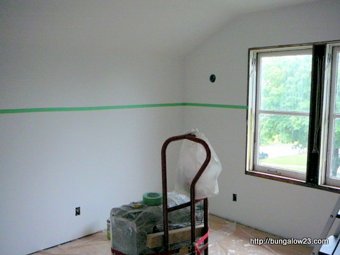 Bedroom taped before paint