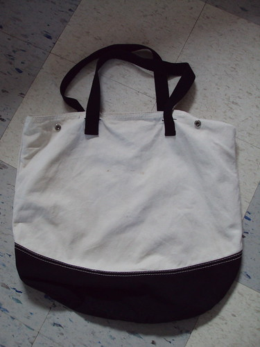 Large Black and White Canvas Tote