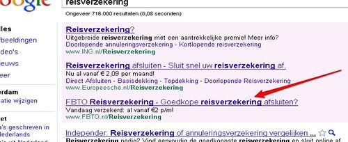 Google AdWords top advertentie met lange titel - voorbeeld 'reisverzekering'.