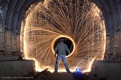 Ghost entering Vortex (Mondino1980) Tags: blue light shadow red 3 vortex man flower london wool wheel train fire dance jump wire rust track ghost orb 8 tunnel led raymond lay armed connaught mondino murphyz