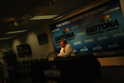 Chip Ganassi in the media center at Daytona International Speedway