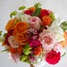 Orange roses and ranunculus, pink roses, stock