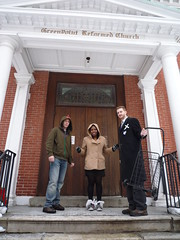 Extremely chilly after dropping off our donation at the Greenpoint Reformed Church (fleepy_99) Tags: charity nyc brooklyn race henry greenpoint idiotarod fooddrive mcgovern 2011 greenpointreformedchurch charitydivision corporationx