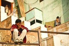 View Up the Varanasi Ghats (viwehei) Tags: india colors beautiful river asia colours traditional holy varanasi tradition washing ganga ganges benares uttarpradesh banares earthasia